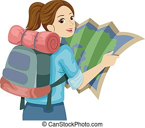 подросток, девушка, руководство, путешествовать, карта