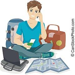 подросток, парень, путешественник, упаковка