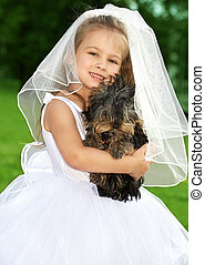 подружка невесты, милый, немного, собака