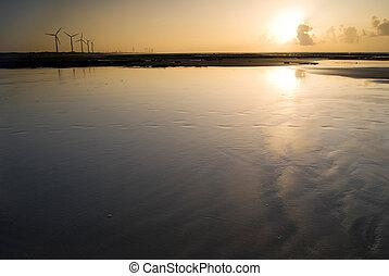 под, ветер, закат солнца, генератор, мощность