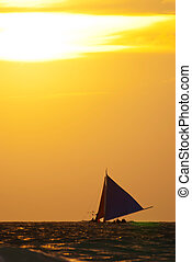 под, закат солнца, парусная лодка, море