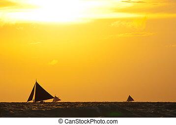 под, закат солнца, sailboats, море