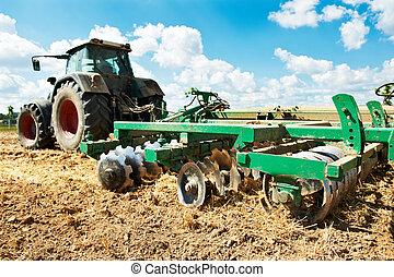 поле, выращивание, работа, трактор, ploughing
