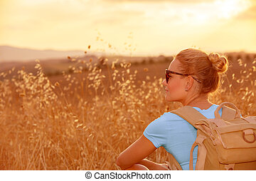 поле, enjoying, пшеница, закат солнца
