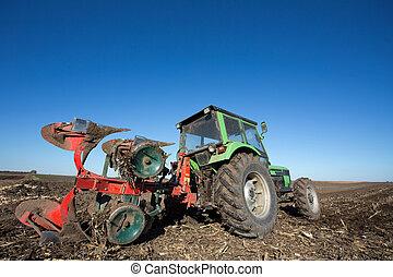 поле, plowing, трактор, оборудование