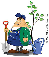 полив, дерево, лопата, садовник, можно