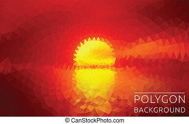 полигональный, закат солнца, иллюстрация