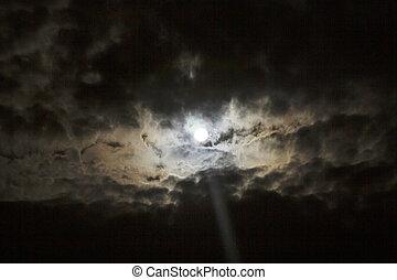 полный, cloudscape, луна