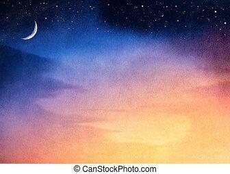 полумесяц, закат солнца, луна