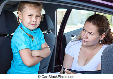 получить, мама, убедительный, против, сиденье, wishes, безопасность, ребенок, девушка