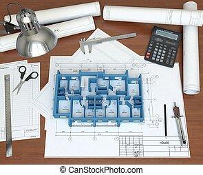 пол, дом, рабочий стол, оказание, architect., модель, 3d