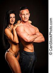 поместиться, -, фитнес, poses, студия, пара, человек, женщина