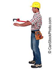 помогите, объект, труба, бремя, место, гаечный ключ, с помощью, ремесленник
