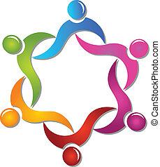 помощь, логотип, вектор, командная работа, люди