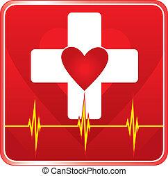 помощь, медицинская, здоровье, символ, первый