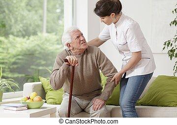 помощь, медсестра, пожилой, человек
