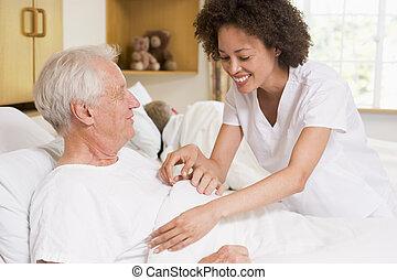 помощь, медсестра, старшая, человек
