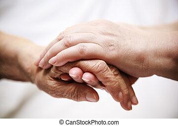 помощь, старшая, больница, взрослый