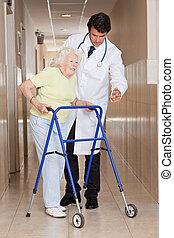 помощь, ходок, использование, пациент, врач
