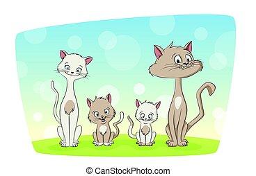 порез, иллюстрация, семья, кот