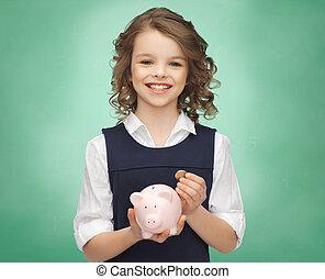 поросенок, держа, девушка, монета, банка, счастливый