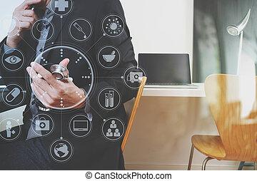 портативный компьютер, графический, таблетка, за работой, врач, больница, современное, виртуальный, телефон, компьютер, стетоскоп, цифровой, icons, офис, медицинская, умная