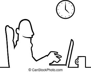 портативный компьютер, за работой, человек