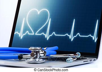 портативный компьютер, компьютер, стетоскоп, контрольная работа, cardiologic, медицинская, программного обеспечения