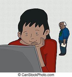 портативный компьютер, работа, женщина