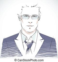 портрет, бизнесмен, молодой, стильный