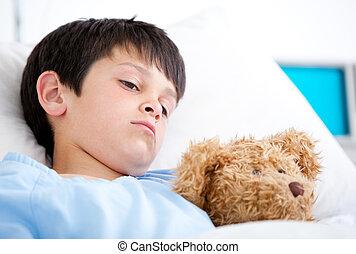 портрет, лежащий, больница, мальчик, больной, постель