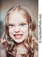 портрет, сердитый, немного, girl.