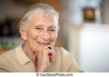 портрет, старшая, женщина, счастливый