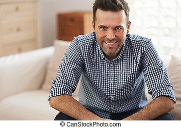 портрет, человек, красивый, гостиная