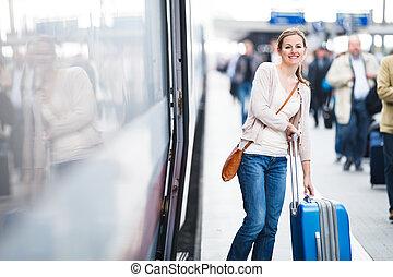 посадка, поезд, женщина, молодой, симпатичная