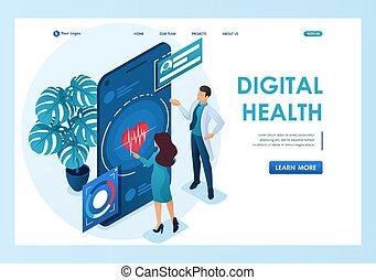 посадка, isometric., showshow, design-01, concept., врач, забота, 3d, заявление, web, concepts, shows, использование, health., поддерживать, здоровье, страница