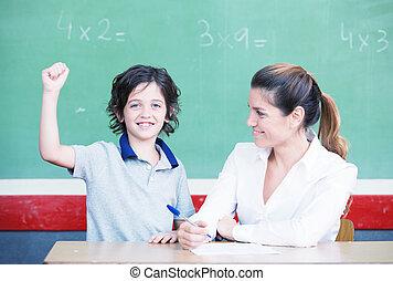 после, правильно, answering, студент, элементарный, улыбается, th, счастливый