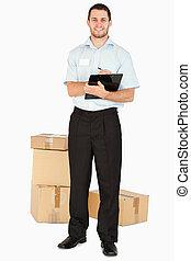 после, улыбается, буфер обмена, наемный рабочий, parcels, молодой