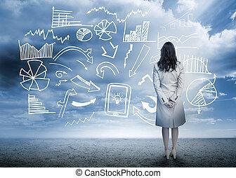 постоянный, блок-схема, ищу, данные, бизнес-леди