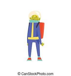 постоянный, веселая, пространство, синий, персонаж, гуманоид, jetpack, дружелюбный, инопланетянин, шлем, вектор, зеленый, иллюстрация, костюм, мультфильм
