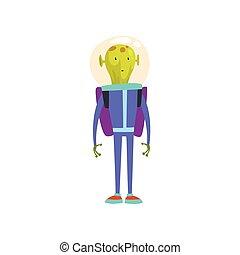 постоянный, веселая, пространство, синий, персонаж, гуманоид, jetpack, инопланетянин, шлем, вектор, зеленый, иллюстрация, костюм, мультфильм