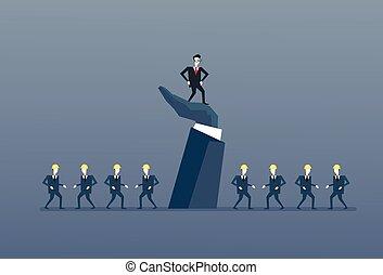 постоянный, концепция, группа, бизнес, люди, большой, вверх, рука, руководство, бизнесмен, босс, лидер