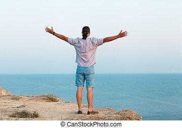 постоянный, человек, море, камень