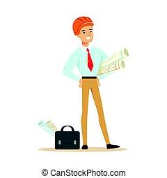постоянный, шлем, blueprints, красочный, персонаж, rolls, иллюстрация, проект, вектор, безопасность, держа, оранжевый, архитектор, улыбается