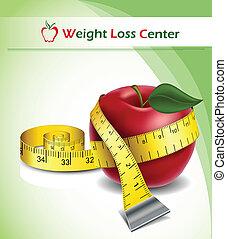 потеря, вес, задний план, яблоко