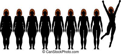 потеря, женщина, вес, поместиться, после, диета, silhouettes, жир, фитнес