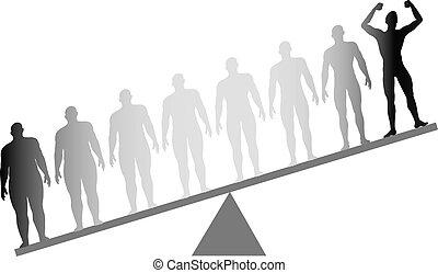 потеря, масштаб, поместиться, вес, диета, жир, фитнес, взвешивать