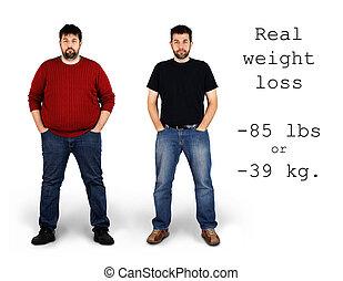 потеря, после, вес, до