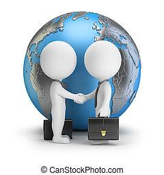 по рукам, люди, глобальный, -, маленький, 3d
