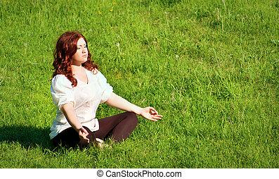 практика, на открытом воздухе, йога